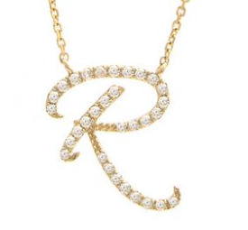 14K Yellow Gold Letter R Diamond Initial Script Necklace