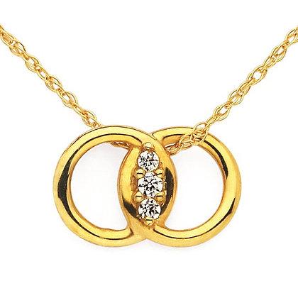 Diamond Marriage Symbol Pendant In 14K Gold