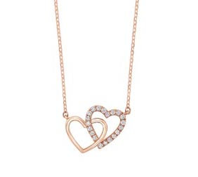 14K Rose Gold Joined Hearts Diamond Necklace
