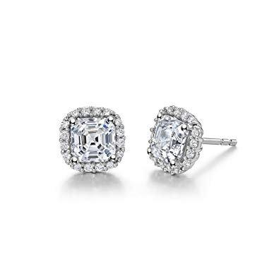 Sterling Silver Platinum Finish Stud Earrings