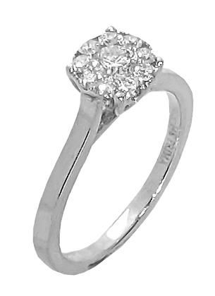 14K White Gold Engagement Ring with Diamond Cluster Top