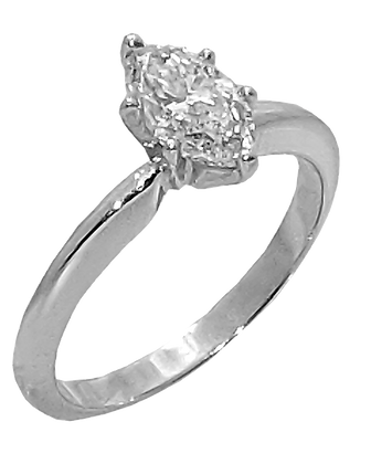 14K Whit4e Gold Solitaire Diamond Engagement Ring with .95 ct. Marquise Diamond