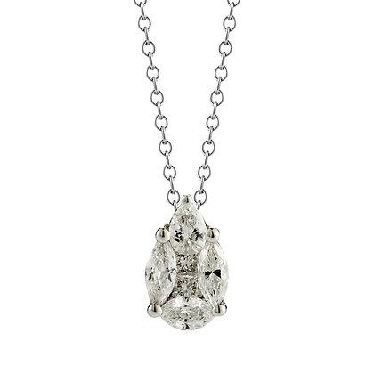 18K White Gold Drop Necklace