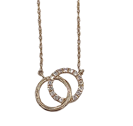 10K Yellow Gold Diamond Double Circle Necklace