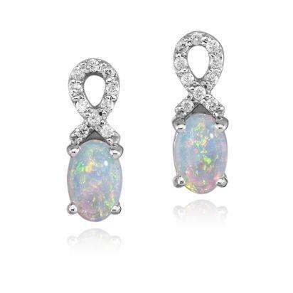 14K Australian Opal/Diamond Earrings
