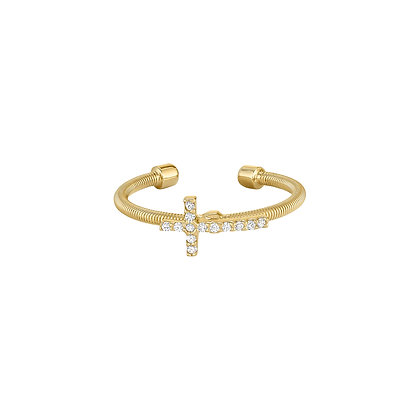 Sterling Silver Gold Tone Cross Cuff Ring
