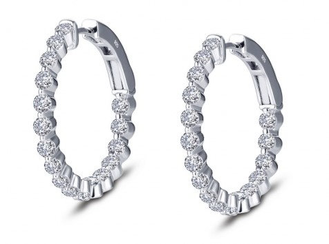 Sterling Silver Platinum Finish Medium Hoop Earrings
