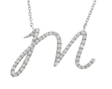 14K White Gold Letter M Diamond Initial Script Necklace