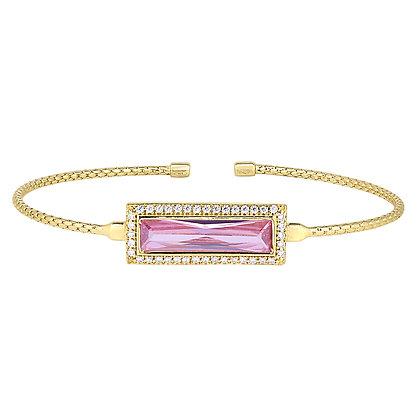 Sterling Silver October Birthstone Cuff Bracelet