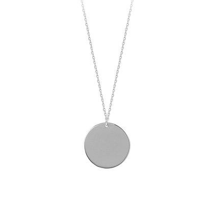 14K White Gold Round Engravable Disc Adjustable Necklace