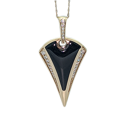 Stylish Black Onyx and Diamond Pendant