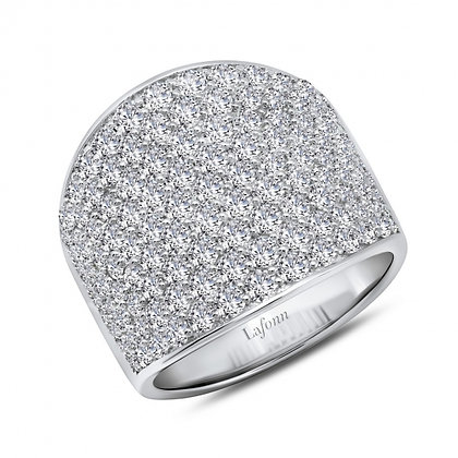Sterling Silver Platinum Finish Cigar Band Ring