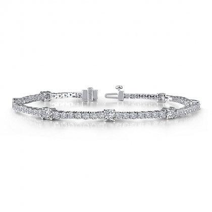 Sterling Silver with Platinum Finish Stationary Link Bracelet