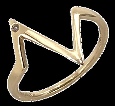 14K Yellow Gold Heart Beat Ring with Diamond