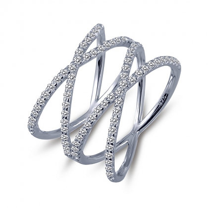Sterling Silver Platinum Finish Double Cross Ring