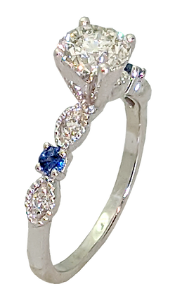 14K White Gold Diamond Engagement Ring with Sapphires