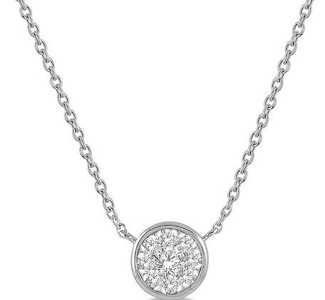 14K White Gold Bezel Set .50 cttw Diamond Necklace