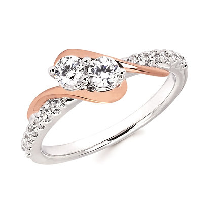 1/2 Ctw Diamond Two-Stone Fashion Ring In 14K Gold