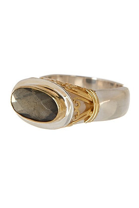 Oval Silver Ring 22kt Vermeil with One Oval Pyrite