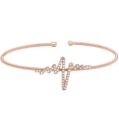 Sterling Silver Rose Gold Heartbeat Cuff Bracelet