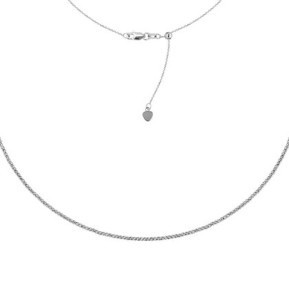 14K White Gold Diamond Cut Bead Adjustable Choker Necklace