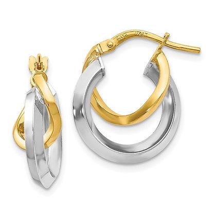 14K TwoTone Hoop Earrings