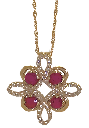 14K Yellow Gold Ruby and Diamond Pendant