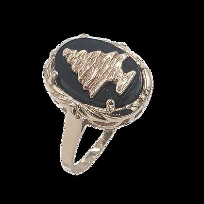 14K Yellow Gold Maronite Cedar Black Onyx Ring