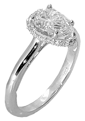 14K White Gold Hidden Halo Diamond Engagement Ring .09 cttw