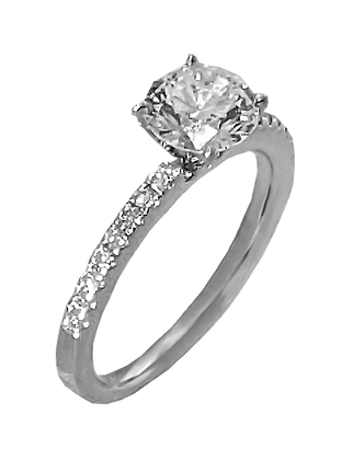 14K White Gold Single Prong Diamond Engagement Ring