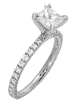 14K White Gold Diamond Shared Prong Engagement Ring .42 cttw