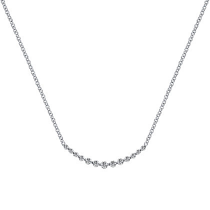 "14K White Gold Diamond ""Smile"" Necklace"