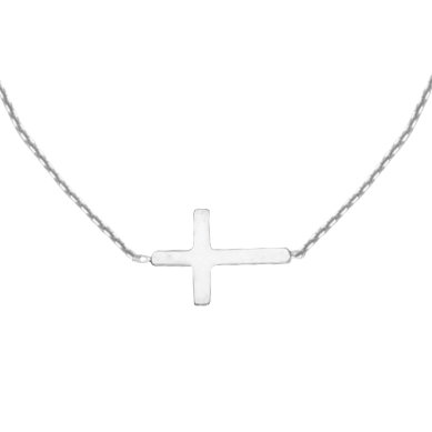 14K White Gold Mini Cross Sideway Necklace