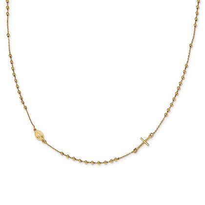 14K Yellow Gold Cross Rosary Necklace