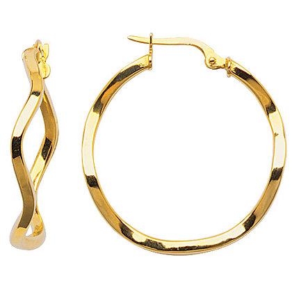 14K Medium Diamond Cut Hoop Earrings