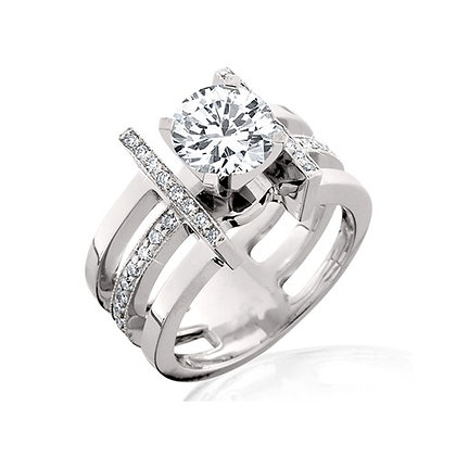 14k White Gold and Diamond Semi Ring