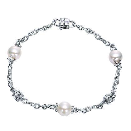 925 Silver Pearl Chain Bracelet