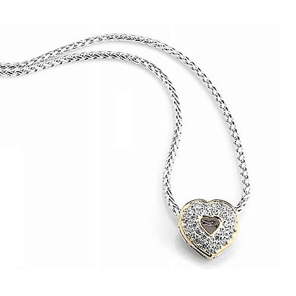Silver Tone Pave Heart Necklace
