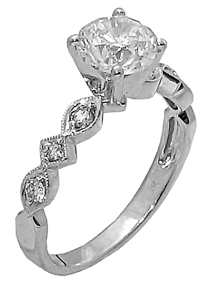 14K White Gold Vintage Look Mount with .16 cttw Diamonds