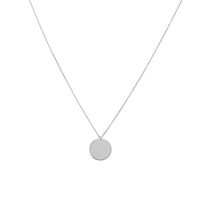 14K White Gold Disc Necklace