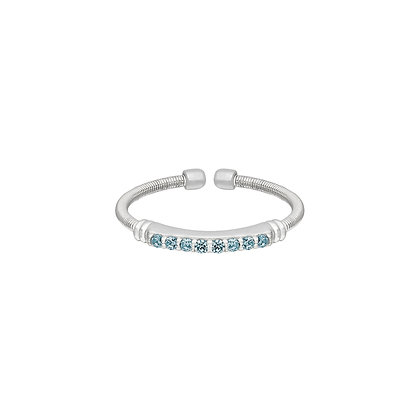Sterling Silver March Birthstone Cable Cuff Ring