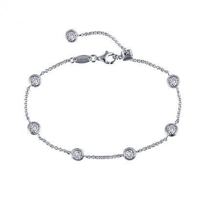 Sterling Silver Bezel Set Station Bracelet
