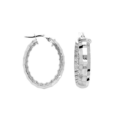 10K White Gold Fancy Oval Hoop Earrings