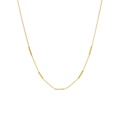 14K Yellow Gold Square Wire Stations Adjustable Choker