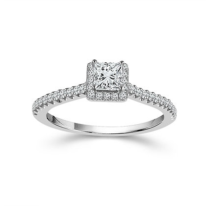 14K White Gold Princess Diamond Engagement Ring with Halo