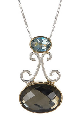 Large Pyrite and Topaz Silver Necklace