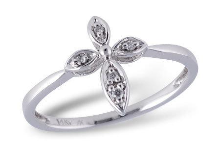 14K Diamond Cross Fashion Ring