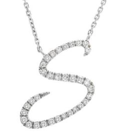 14K White Gold Letter S Diamond Initial Script Necklace