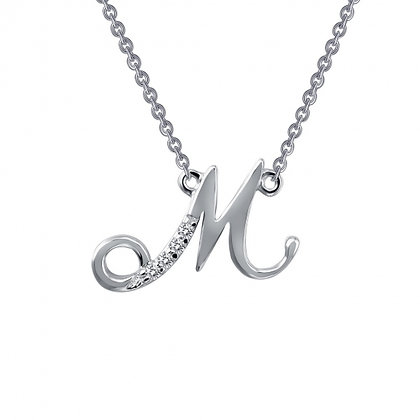 Sterling Silver Script Initial M Necklace