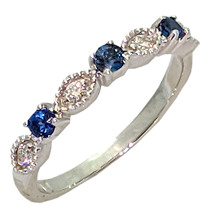14K White Gold Sapphire and Diamond Wedding Ring